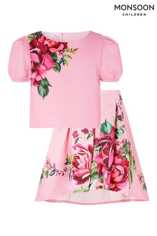 Monsoon Pink Floral Top And Skirt Set