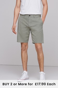 Light Khaki Straight Fit Stretch Chino Shorts