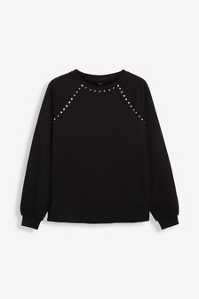 Black Jersey Denim Studded Sweatshirt