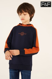 F&F Navy Orange Raglan Ripple Sweat Top