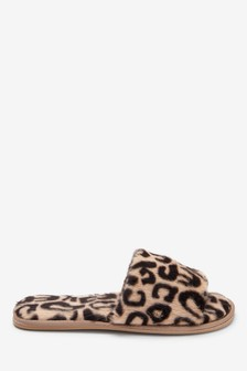 Leopard Print Faux Fur Slider Slippers