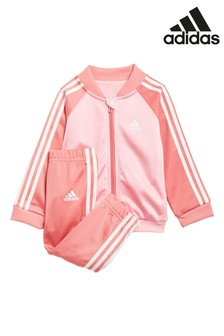 adidas Infant Pink 3 Stripe Tricot Tracksuit