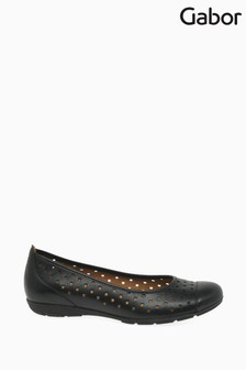 Gabor Black Ruffle Leather Casual Shoes