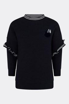 Girls Navy Cotton Sweater