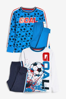 Red/Blue Football 2 Pack Pyjamas (3-16yrs)
