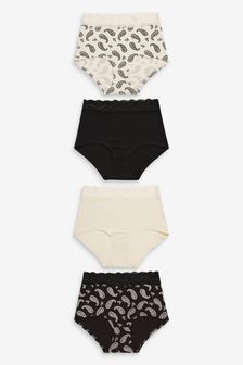 Black/Cream/Paisley Full Brief Lace Trim Cotton Blend Knickers 4 Pack