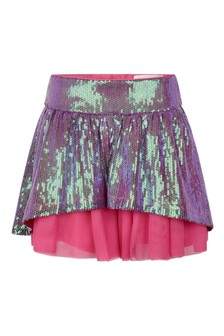 Girls Multicoloured Sequinned Tulle Skirt
