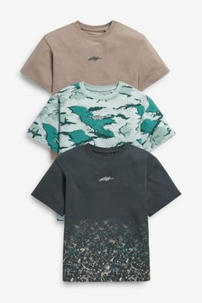 Multi 3 Pack Splat Camo T-Shirts (3-16yrs)