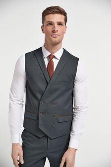 Green Herringbone Suit: Waistcoat