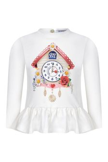 Baby Girls Ivory Cotton Clock Print Top