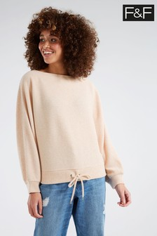 F&F Beige Oatmeal Brushed Rib Slash Neck T-Shirt