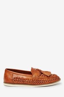 Tan Woven Tassel Loafers (Older)