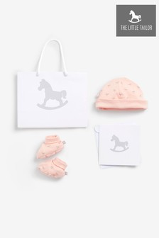 The Little Tailor Pink Jersey Hat & Bootie Gift Set