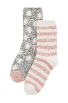 Pink/Grey Spot Cosy Bed Socks Two Pack