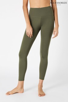 Accessorize Green Full-Length Gym Leggings