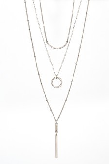 Silver Tone Three Layer Sparkle Necklace