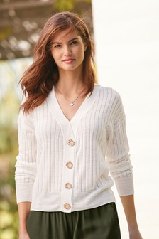 White Linen Blend Button Front Cardigan