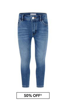 Calvin Klein Jeans Girls Blue Cotton Skinny Stretch Jeans