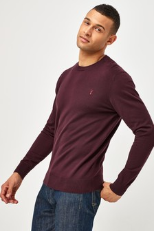 Burgundy With Stag Embroidery Crew Neck Cotton Rich Jumper