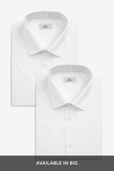 White Regular Fit Short Sleeve Shirts Two Pack