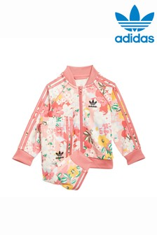 adidas Originals Infant Pink Floral Superstar Tracksuit