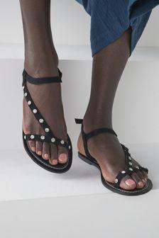 Black Regular/Wide Fit Forever Comfort® Jewelled Asymmetric Sandals