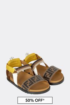 Fendi Kids Brown Leather Sandals