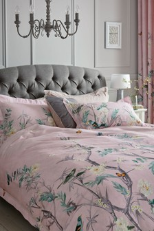 Cotton Sateen Reversible Oriental Garden Duvet Cover And Pillowcase Set