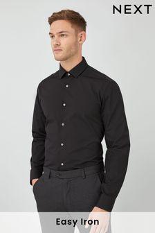 Black Regular Fit Single Cuff Cotton Shirt