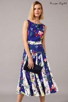 Phase Eight Blue Trudy Patched Floral Dress