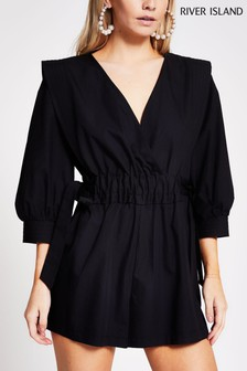 River Island Black Ruched Waist Playsuit