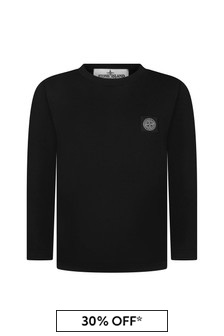 Boys Black Cotton Long Sleeve T-Shirt