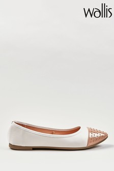 Wallis Bennie Cream Stud Toecap Ballerina Shoes