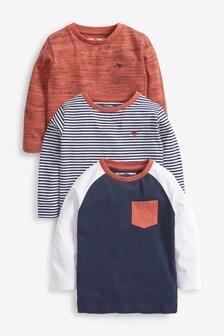 Rust/Navy 3 Pack Long Sleeve Stripes T-Shirts (3mths-7yrs)