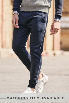 Navy Piped Joggers