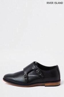 River Island Black Velcro Monk Strap Shoes