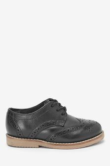 Black Standard Fit (F) Leather Brogues