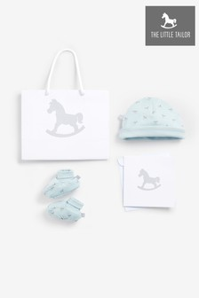 The Little Tailor Blue Jersey Hat & Bootie Gift Set