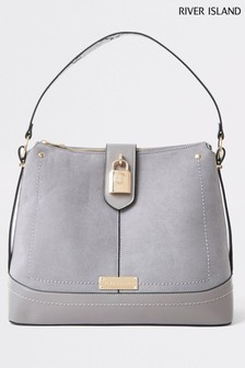 River Island Blue Padlock Detail Slouch Bag