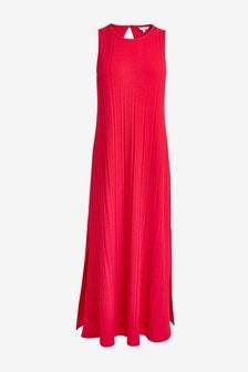 Red Rib Tent Sleeveless Dress