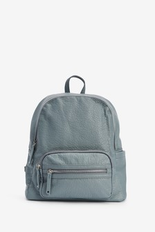 Pale Blue Leather Look Rucksack