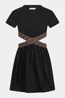 فستان قطن أسود بناتي