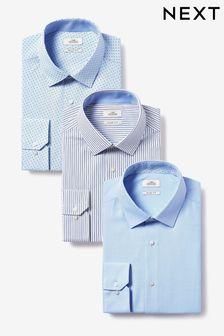 Blue Stripe And Print Regular Fit Single Cuff Shirts Three Pack