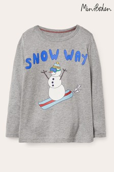 Boden Grey Festive Graphic T-Shirt