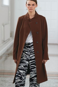 Tobacco Belted Wrap Coat