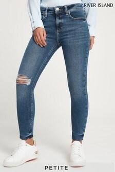 River Island Petite Denim Medium Amelie Mid Rise Ravioli Jeans