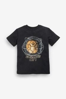 Black Short Sleeve Gold Football T-Shirt (3-16yrs)