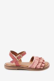 Apricot Leather Ruffle Sandals (Younger)