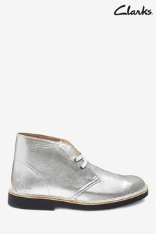Clarks Silver Leather Desert Boot 2 Boots