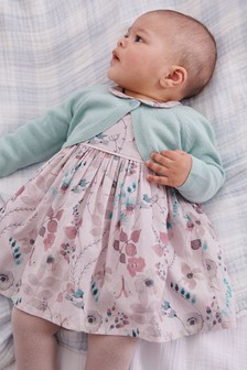 Lilac/Teal Prom Dress, Cardigan And Tights Set (0mths-2yrs)